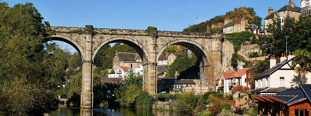 A picture of the viaduct in Knaresborough, taken from the river.
